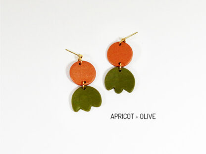 Bloom Earrings - Apricot and Olive