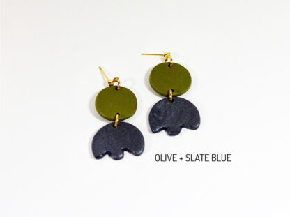 Bloom Earrings - Olive and Slate Blue