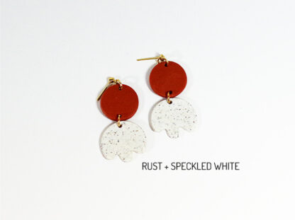 Bloom Earrings - Rust and Speckled White