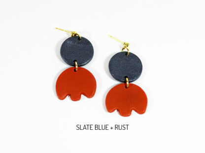 Bloom Earrings - Slate Blue and Rust