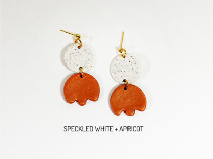 Bloom Earrings - Speckled White and Apricot