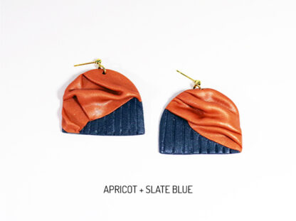 Forma Earrings - Apricot and Slate Blue
