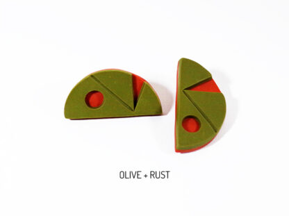 Pax Earrings - Olive and Rust