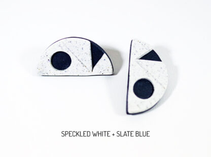 Pax Earrings - Speckled White and Slate Blue