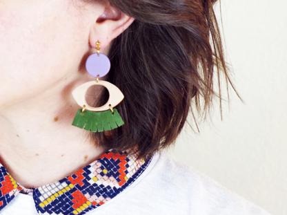 Dow earrings in ear close up