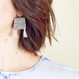 Iris Earrings in ear
