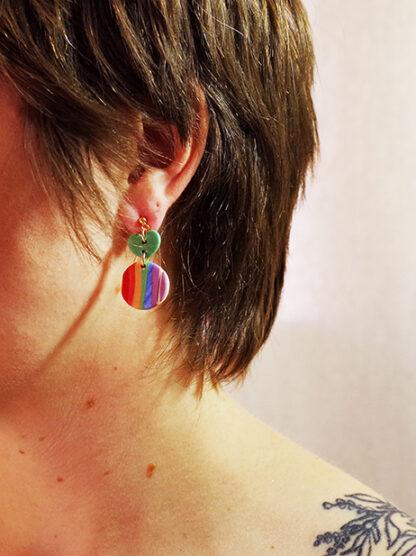Evergreen Earrings - Heart Rainbow Style in Ear