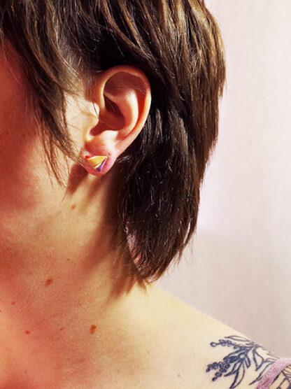 Evergreen Earrings - Triangle Style in Ear