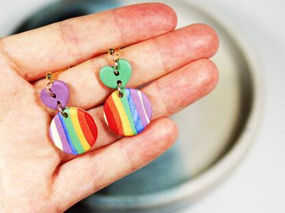 Evergreen Earrings - Heart Rainbow Style in Hand