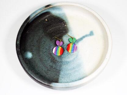 Evergreen Earrings - Heart Rainbow Style on Display
