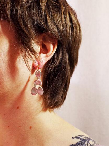 Marbled Haze Earrings - Teardrops in Ear