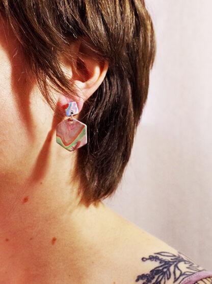 Marbled Haze Earrings - Hex in Ear