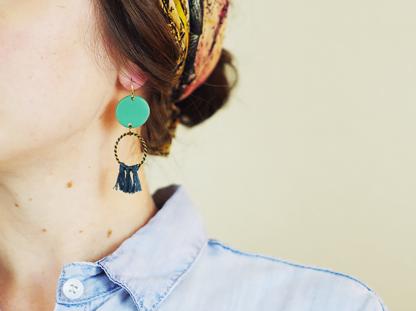 Angelique earrings in ear