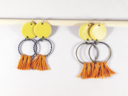 Angelique earrings in Ochre small and big