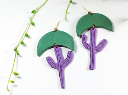 Calyxtus earrings in Viridian and Lavender