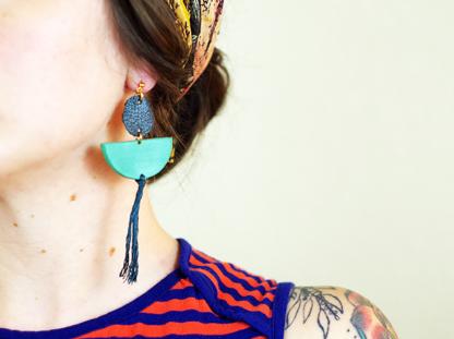 Elizabeth earrings in viridian in ear