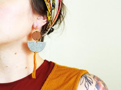 Elizabeth earrings in granite in ear