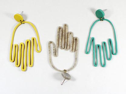 Matokie earrings one of each color in a row