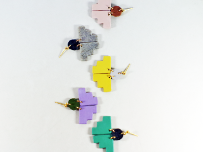 Pioneer earrings group view from above