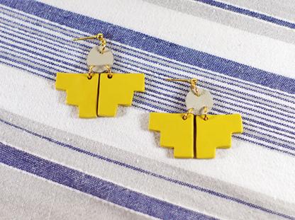 Pioneer earrings in Ochre